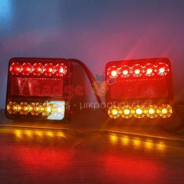 Φανάρια 2 x 10 LED 12V για Τρέιλερ, Τροχόσπιτα