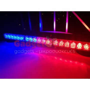 108w Διπλή μαγνητική Μπλέ-Κόκκινη μπάρα - φάρος LED Strobe ασφαλείας (POLICE)