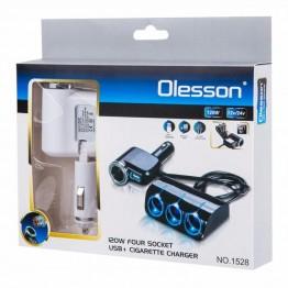 Φορτιστής αναπτήρα αυτοκινήτου USB OLESSON 12-24V 120w