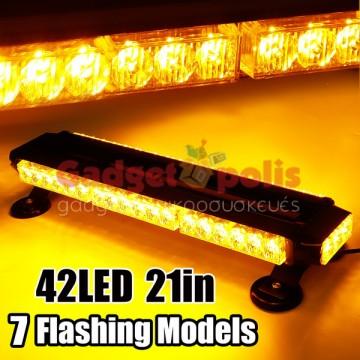 126w Διπλή μαγνητική πορτοκαλί μπάρα - φάρος 42 LED Strobe