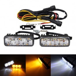 2x6 Led κιτ φώτα ημέρας λευκά και πορτοκαλί φλάς 12V