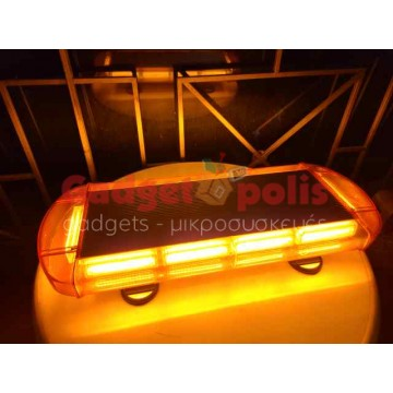 55cm Πορτοκαλί μαγνητικός Φάρος Strobe 10 COB LED 12V
