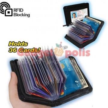 Δερμάτινο πορτοφόλι με φερμουάρ ασφαλείας για 36 κάρτες