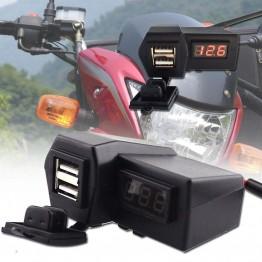 Διπλό USB φορτιστής 1x3.1A Μοτοσικλέτας + LCD ψηφιακή οθόνη LED Βολτόμετρο