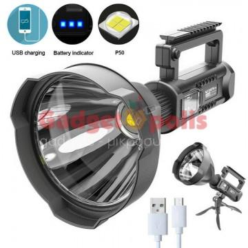 Επαναφορτιζόμενος φακός LED P50 μεγάλων αποστάσεων με βάση W591