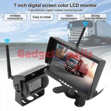 """Οθόνη μόνιτορ LCD 7 """"TFT 12/24V με ασύρματη κάμερα νυχτερινής όρασης φορτηγού"""