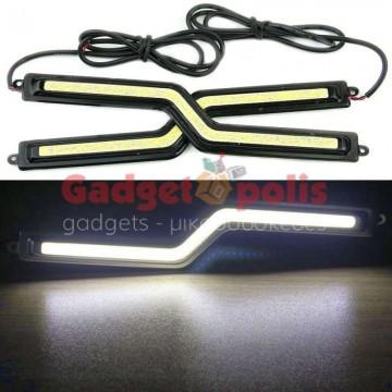 Led φώτα ημέρας σχήμα Ζ 6w με αυτοκόλλητα 3M