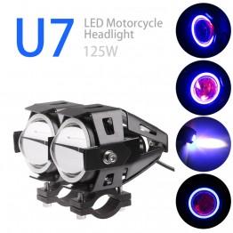 Προβολείς Μοτοσυκλέτας 15W U7 Led 12-80V με φώς ημέρας (2τμχ)